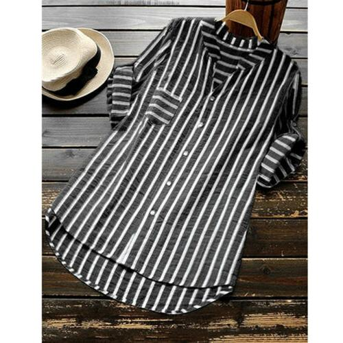 Womens Striped Neck Blouses Baggy Tops Tunic Shirts Plus Size