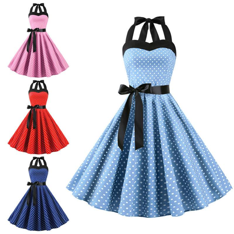 Womens 50s 60s Retro Polka Dot Swing Dress Evening Party Roc