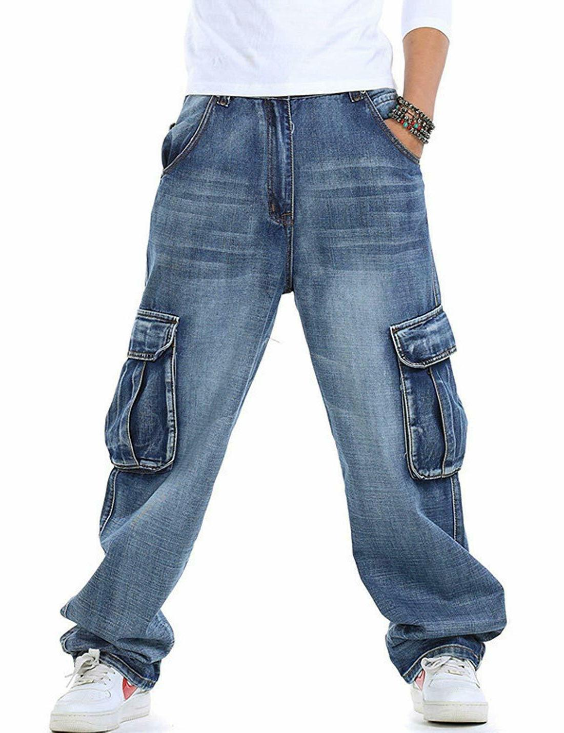 Yeokou Men's Casual Loose Hip Denim Pants with Pockets