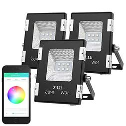 LE iLUX Smart Outdoor LED Flood Lights, 10W RGB, Dimmable, I