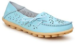 Kunsto Women's Leather Casual Loafer Shoes US Size 9 Light B