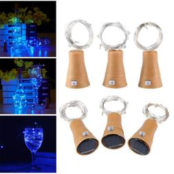LED Solar Wine Bottle Light Copper Cork Wire String Fairy Li