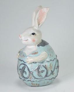 Light Blue & Silver Detail Egg with Bunny in Egg Easter Tabl