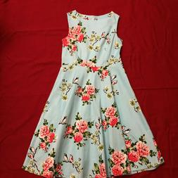 Rosy Day Light Blue Floral Bird Print 50's Style Circle Dres