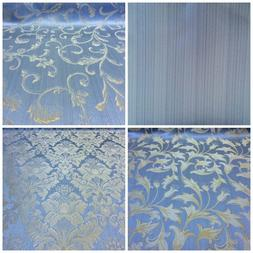 "Light Blue/Gold Damask Jacquard Brocade Fabric 118"" By the Y"