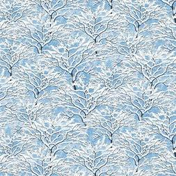 Light Blue Snowy Branches Bringing Home Christmas Quilt Fabr