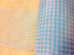 Light Blue Squares Sheer Trim Width 4 3/8 nches  2 yards