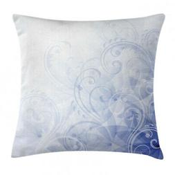 light blue throw pillow case abstract floral
