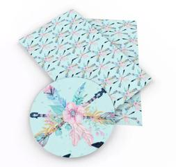 Light blue tribal floral arrows faux leather fabric sheet /f