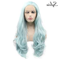 """24"""" Light Blue Natural Wave Synthetic Lace Front Wigs Heat R"""