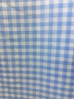 "LIGHT BLUE WHITE 1/4"" CHECKERED PLAID GINGHAM COTTON FABRIC"