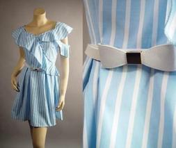Light Blue White Vertical Stripe 50s Ruffle Fit and Flare Bo