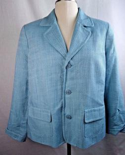 Light Blue Women's Blazer Jacket size 16 Lined New Appleseed