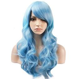 BERON Long Curly Charming Mix Light Blue Color Full Wigs for