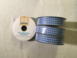 Lot of 4 Spools Ribbon-Light Blue Gingham Checkered Ribbon-5