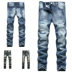 Men Moto Ripped Distressed Jeans Slim Fit Tapered Leg Patche