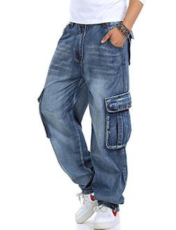 Yeokou Men's Casual Loose Hip Hop Denim Work Pants Multi Poc