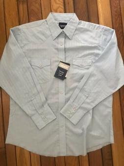mens light blue western pearl snap nwt