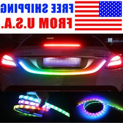 Multicolor Car Trunk Tail LED Strip Driving Brake Turn Signa