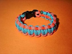 New 550 ParaCord Survival Cobra Braided Bracelet Neon Pink &