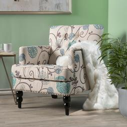 new light blue fabric tufted padded accent