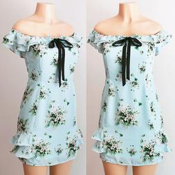 NEW Light Blue Green Floral Cute Bow Tie Ruffle Off Shoulder
