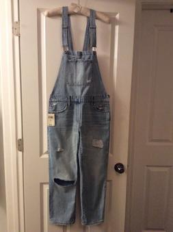 NWT Lucky Brand denim overalls,light blue wash,ripped,sz.S