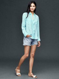 8ac5ba1a5 NWT Women's GAP Linen Light Blue Long Sleeve Button Down B