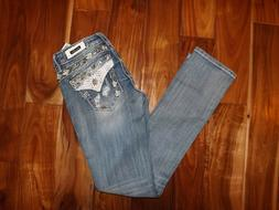 NWT Womens MISS ME Signature Straight Light Blue Denim Jeans