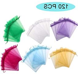 120PCS Organza Drawstring Gift Bag Pouch Wrap for Party/Game