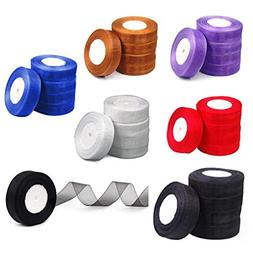 Organza Ribbon - Nhbr 25mm Woven Edge Organza Ribbon 6 Color