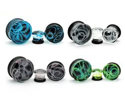 Pair of Glass Swirl Double Flare Plugs set gauges PICK YOUR