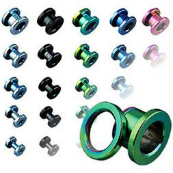 Pair Titanium Anodized Screw Fit Ear Plugs Tunnels Earlets E