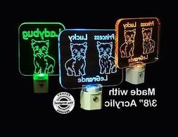 Personalized Yorkshire Terrier Dog LED Night Light, Yorkie A