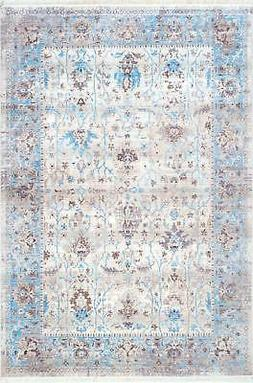 """Nuloom Polyester 5' X 7' 9"""" Rectangle Area Rugs In Light Blu"""