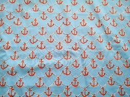 Lilly Pulitzer Poplin Cotton Fabric ~ Light Blue Anchors Awa