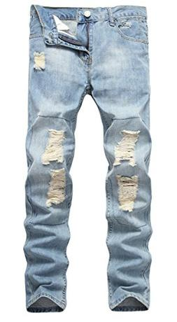 NITAGUT Men's Ripped Destroyed Straight Fit Jeans US 32