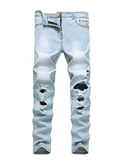 ripped distressed destroyed straight fit