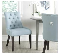 SET OF 2 Light Blue Accent Ring Button Tufted Luxury Chair P