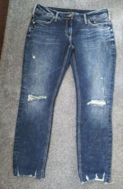 Silver Jeans Size 33 Boyfriend Ripped Mid Rise New Without T