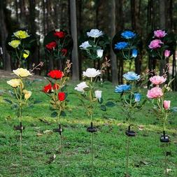 Solar Power Rose Flower Garden Stake Outdoor landscape Lamp