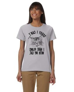 Sorry I Can't I Have Plans With My Cat Ladies T-shirt Novelt