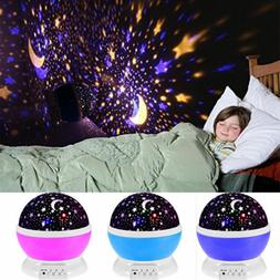Starry Kids Room Desk Lamp Rotating Star Moon Sky Rotation N