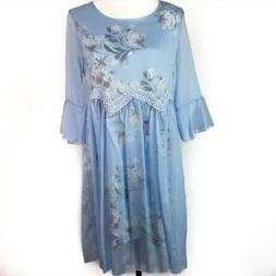 stylewe light blue floral a line dress