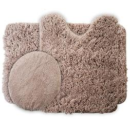 Lavish Home 3-Piece Super Plush Non-Slip Bath Mat Rug Set