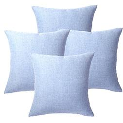 4PCS Throw Pillow Covers Coastal Cushions Fine Faux Linen Ho