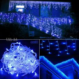 US Blue LED String Lights Xmas Fairy Icicle Snowing Curtain