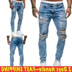 us men ripped skinny jeans distressed frayed