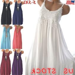 US Plus Size Womens Summer Lace Sundress Sleeveless Plain Be