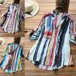 US Women Summer Striped V Neck Blouses Loose Baggy Tops Tuni